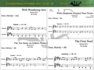 Christmas Hymns, pic of sheet music 3 of 4, B-flat