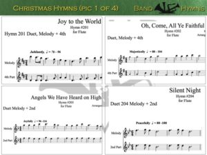 Christmas Hymns, pic of music, 1 of 4, Flute