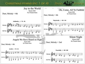 Christmas Hymns, pic of music, 1 of 4, French Horn