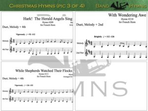 Christmas Hymns, pic of music, 3 of 4, French Horn