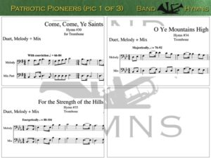 Patriotic Pioneers, pics of music in compilation, 1 of 3, trombone