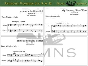 Patriotic Pioneers, pics of music in compilation, 3 of 3, trombone