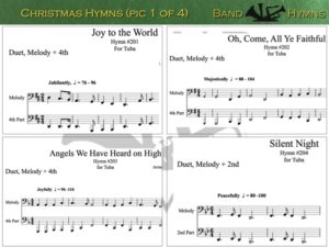 Christmas Hymns, pics of music in compilation, 1 of 4, tuba