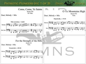 Patriotic Pioneers, pics of music in compilation, 1 of 3, tuba
