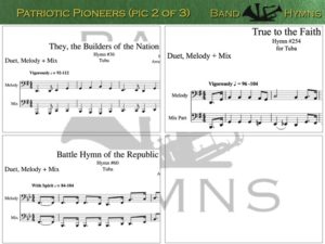 Patriotic Pioneers, pics of music in compilation, 2 of 3, tuba