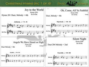Christmas Hymns, pic of sheet music 1 of 4, B-flat