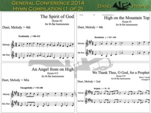 General Conference 2014 Hymns, pic of sheet music 1 of 2, B-flat