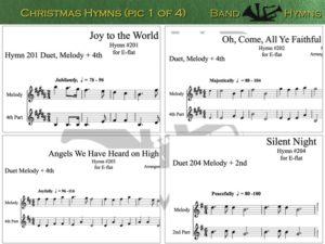 E-flat Christmas Hymns, pic of sheet music 1 of 4, E-flat