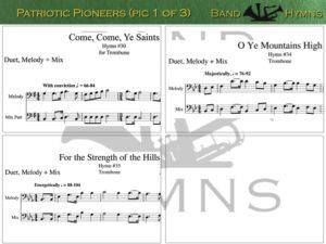 Patriotic Pioneers, pics of music in compilation, 1 of 3, trombone